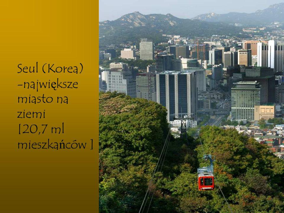 Seul (Korea) największe miasto na ziemi [20,7 ml mieszkańców ]